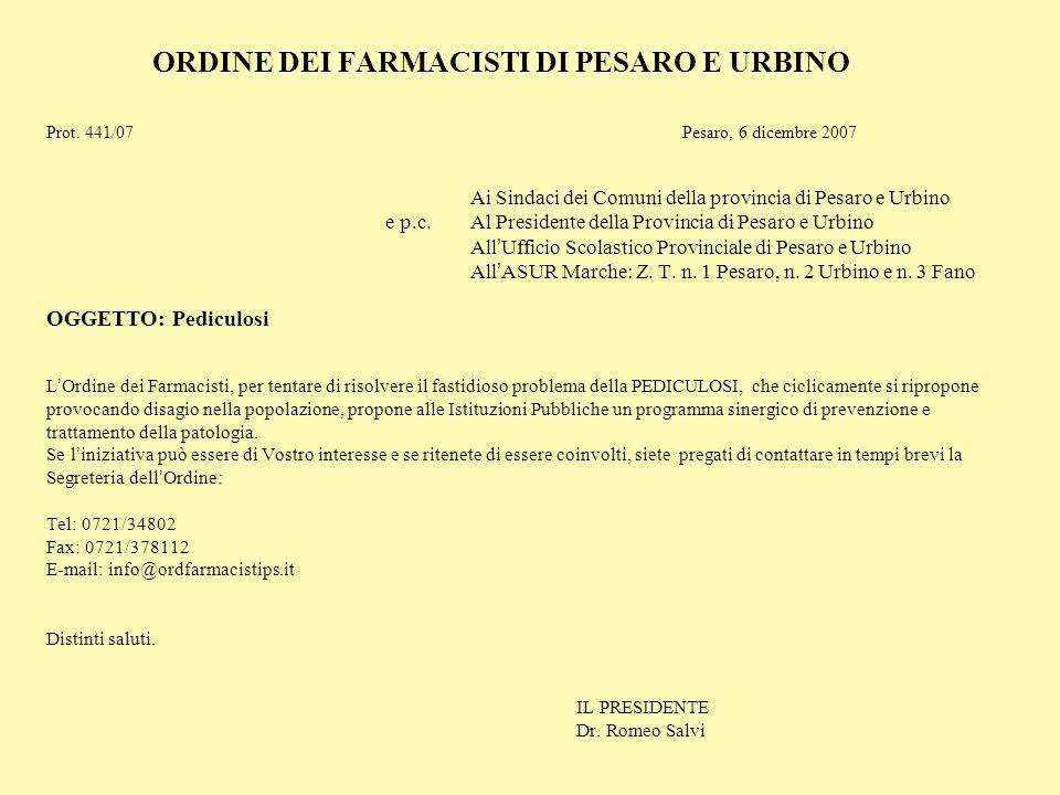 ORDINE DEI FARMACISTI DI PESARO E URBINO Prot. 441/07Pesaro, 6 dicembre 2007 Ai Sindaci dei Comuni della provincia di Pesaro e Urbino e p.c. Al Presid