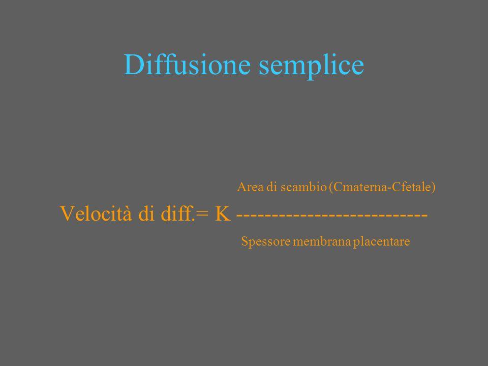Diffusione semplice Area di scambio (Cmaterna-Cfetale) Velocità di diff.= K --------------------------- Spessore membrana placentare