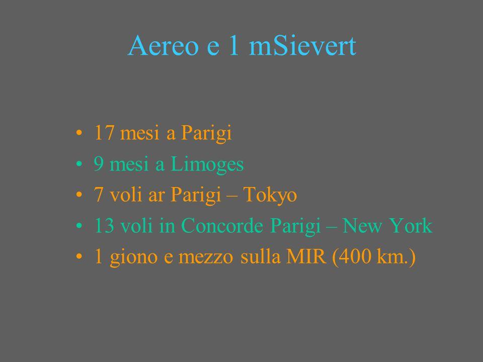 Aereo e 1 mSievert 17 mesi a Parigi 9 mesi a Limoges 7 voli ar Parigi – Tokyo 13 voli in Concorde Parigi – New York 1 giono e mezzo sulla MIR (400 km.