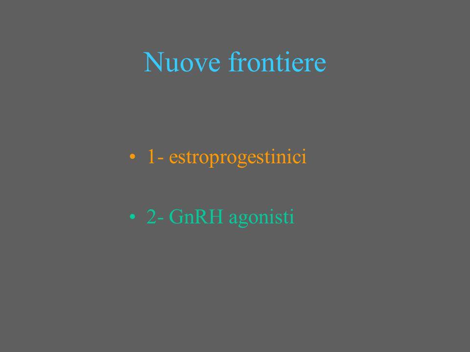 Nuove frontiere 1- estroprogestinici 2- GnRH agonisti