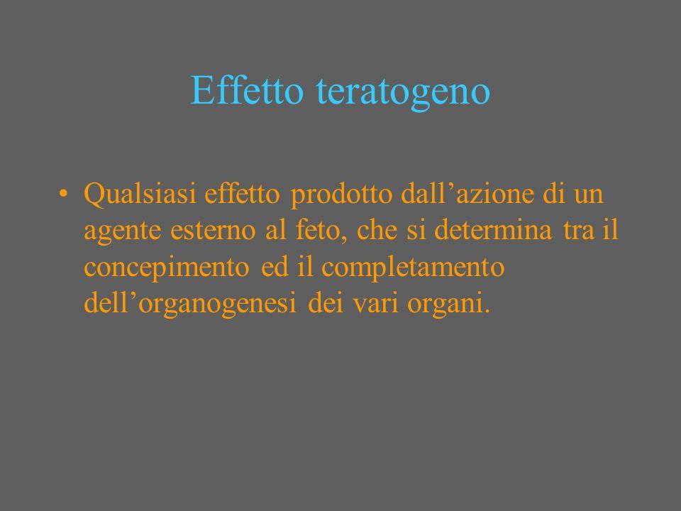 Effetto teratogeno Qualsiasi effetto prodotto dallazione di un agente esterno al feto, che si determina tra il concepimento ed il completamento dellor