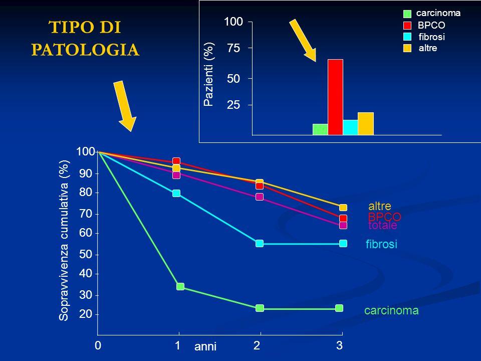 20 30 40 50 60 70 80 90 100 carcinoma fibrosi totale BPCO altre Sopravvivenza cumulativa (%) 0123 anni 25 50 75 100 Pazienti (%) carcinoma BPCO fibros