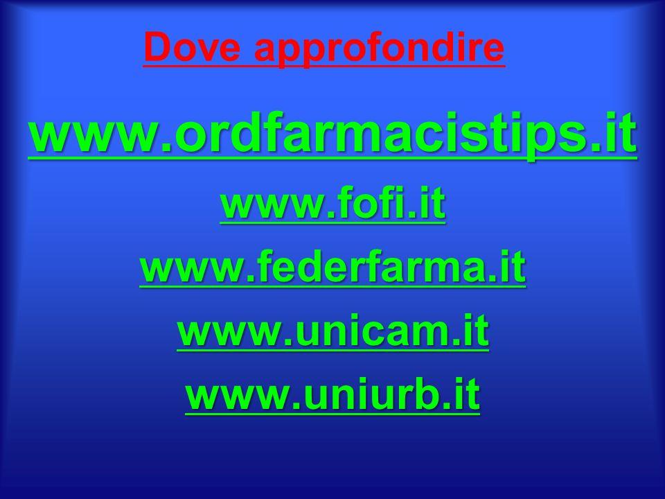 Dove approfondire www.ordfarmacistips.itwww.fofi.itwww.federfarma.itwww.unicam.itwww.uniurb.it