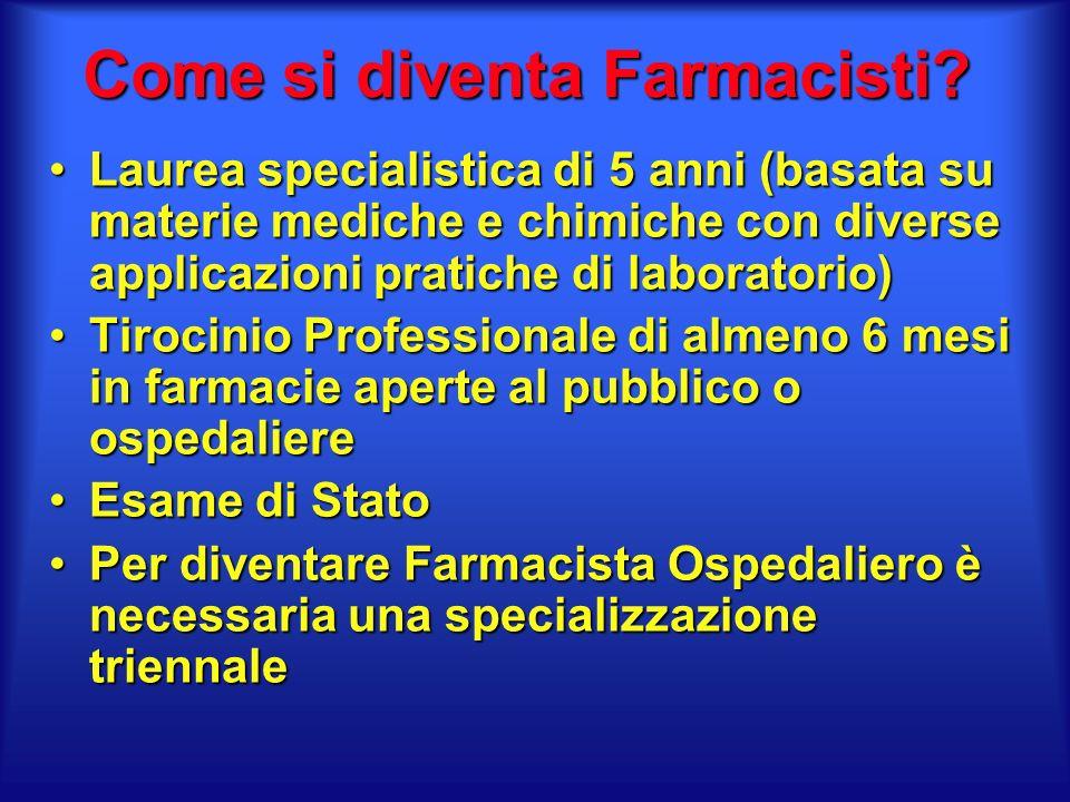 Come è impostata la Facoltà di Farmacia Esistono due Lauree Specialistiche: Farmacia e Chimica e Tecnlogia Farmaceutica (CTF)Esistono due Lauree Specialistiche: Farmacia e Chimica e Tecnlogia Farmaceutica (CTF) In Italia ci sono 30 Facoltà di FarmaciaIn Italia ci sono 30 Facoltà di Farmacia Nelle Marche ci sono due Facoltà di Farmacia: Camerino (MC) e Urbino (PU)Nelle Marche ci sono due Facoltà di Farmacia: Camerino (MC) e Urbino (PU) Ogni anno in Italia si laureano circa 3.000 studenti e gli iscritti sono oltre 50.000Ogni anno in Italia si laureano circa 3.000 studenti e gli iscritti sono oltre 50.000 Ad oggi non è previsto il numero chiusoAd oggi non è previsto il numero chiuso