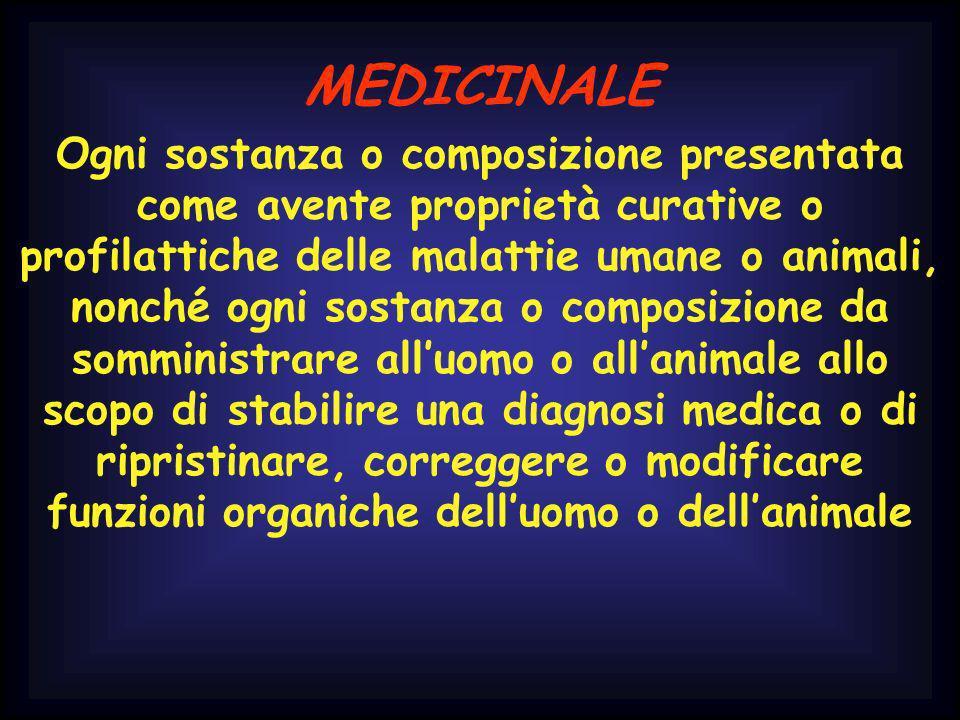 MEDICINALE Ogni sostanza o composizione presentata come avente proprietà curative o profilattiche delle malattie umane o animali, nonché ogni sostanza