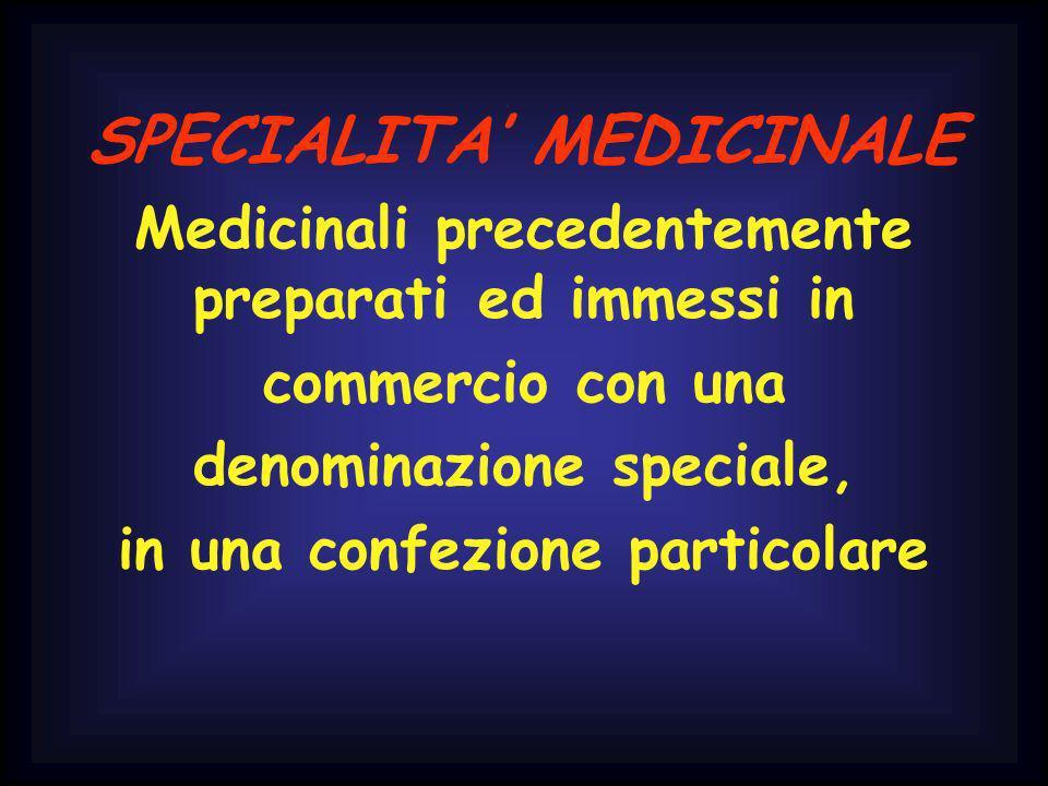 SPECIALITA MEDICINALE Medicinali precedentemente preparati ed immessi in commercio con una denominazione speciale, in una confezione particolare