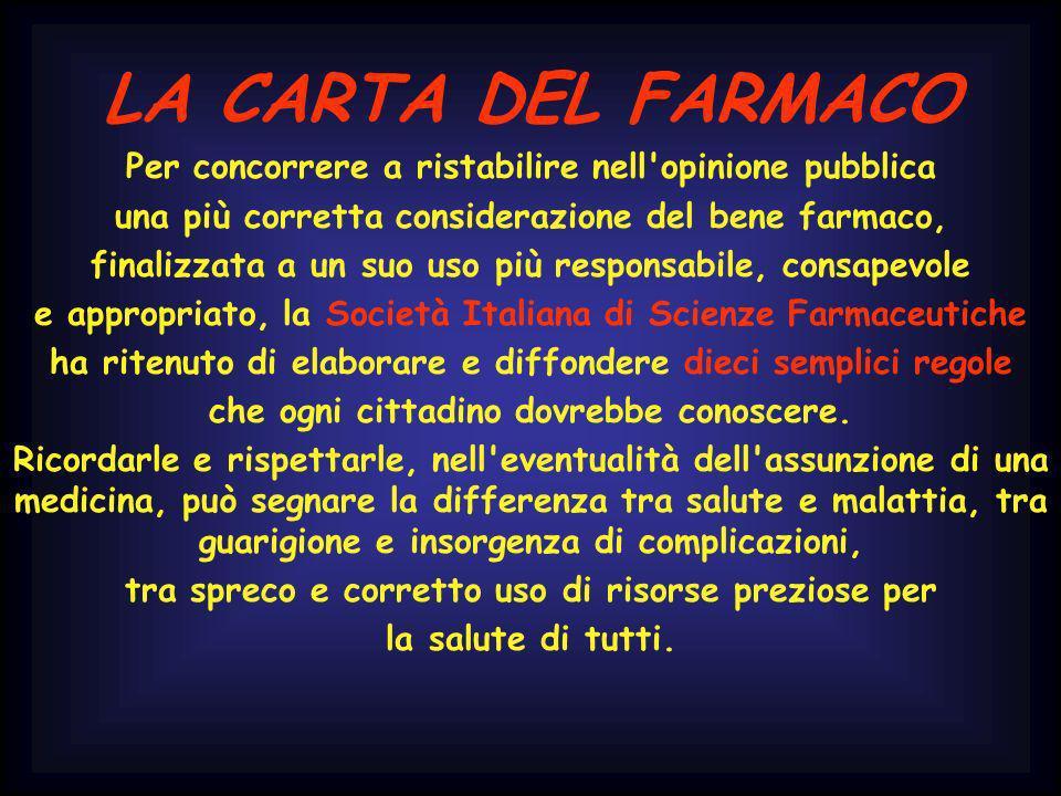 LA CARTA DEL FARMACO Per concorrere a ristabilire nell'opinione pubblica una più corretta considerazione del bene farmaco, finalizzata a un suo uso pi