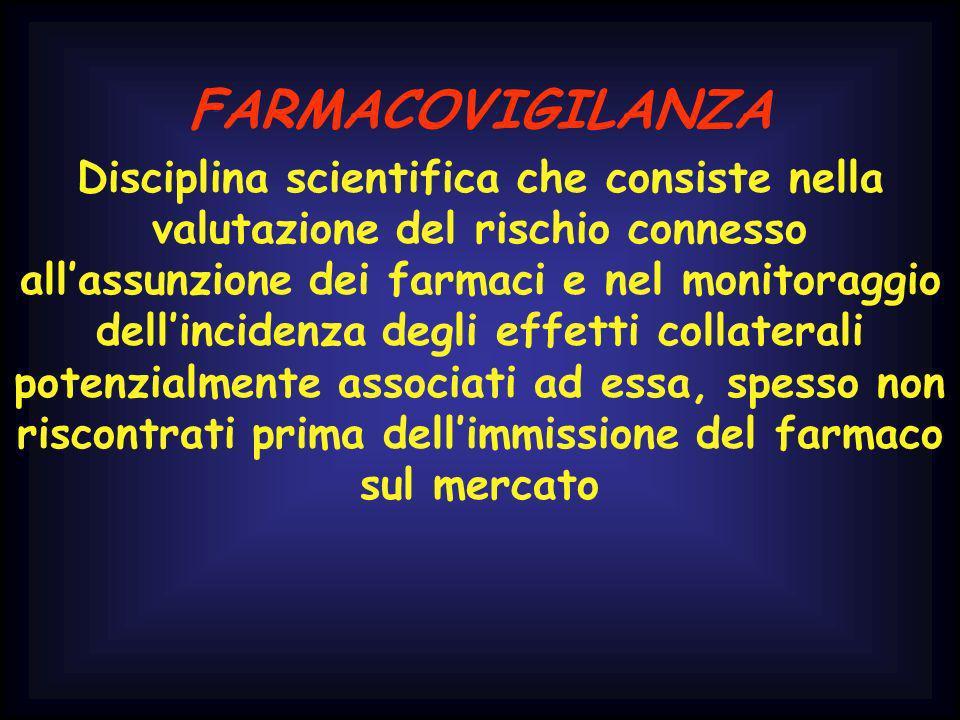 FARMACOVIGILANZA Disciplina scientifica che consiste nella valutazione del rischio connesso allassunzione dei farmaci e nel monitoraggio dellincidenza