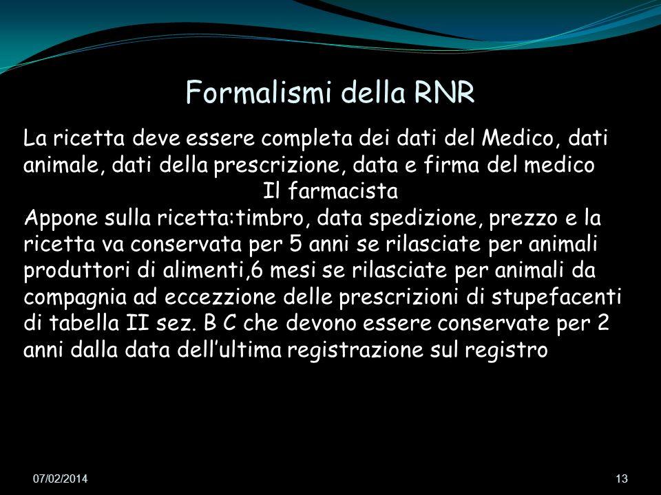 07/02/2014 13 La ricetta deve essere completa dei dati del Medico, dati animale, dati della prescrizione, data e firma del medico Il farmacista Appone