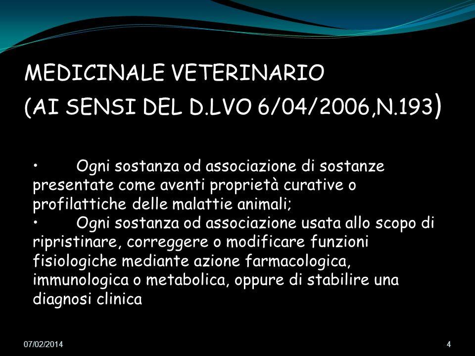 07/02/2014 4 Ogni sostanza od associazione di sostanze presentate come aventi proprietà curative o profilattiche delle malattie animali; Ogni sostanza