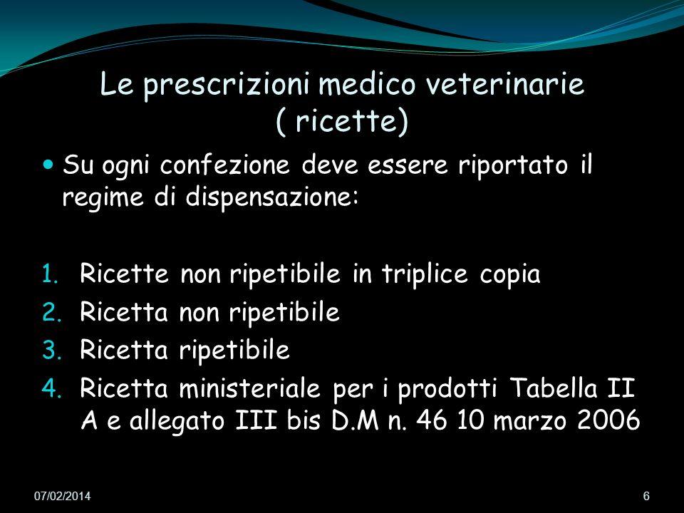 Le prescrizioni medico veterinarie ( ricette) Su ogni confezione deve essere riportato il regime di dispensazione: 1. Ricette non ripetibile in tripli