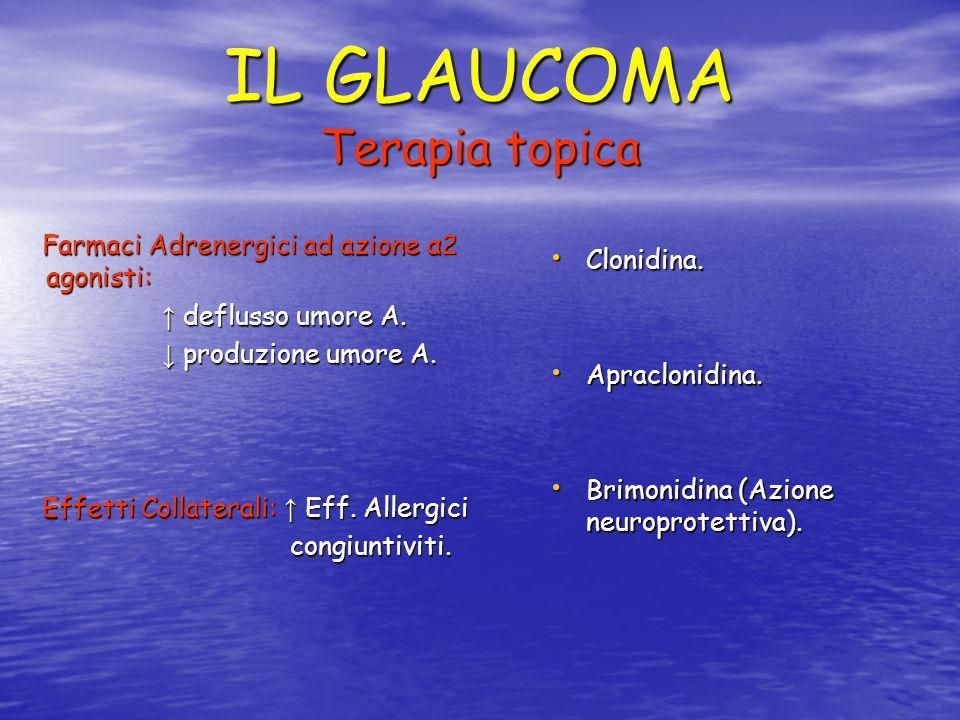 IL GLAUCOMA Terapia topica Farmaci Adrenergici ad azione α2 agonisti: Farmaci Adrenergici ad azione α2 agonisti: deflusso umore A. deflusso umore A. p