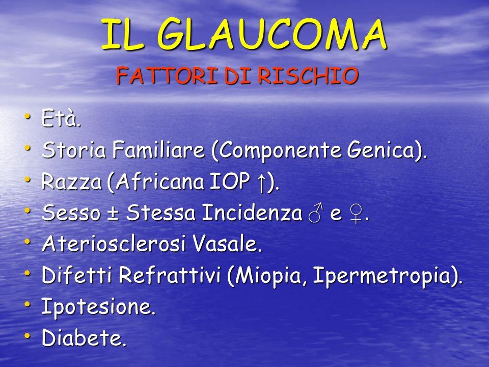 IL GLAUCOMA FATTORI DI RISCHIO Età. Età. Storia Familiare (Componente Genica). Storia Familiare (Componente Genica). Razza (Africana IOP ). Razza (Afr