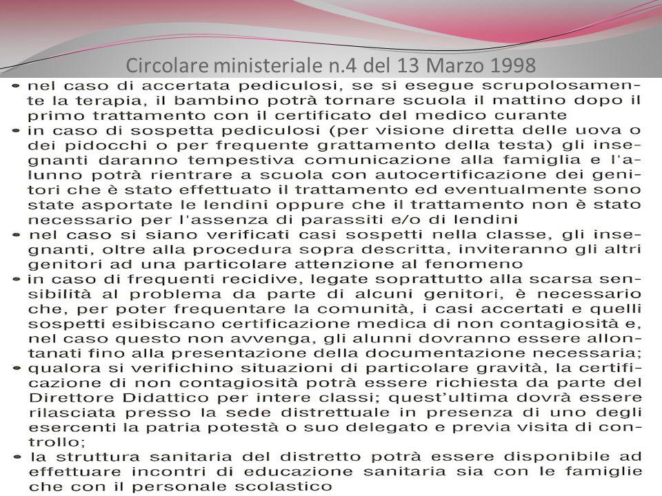Circolare ministeriale n.4 del 13 Marzo 1998