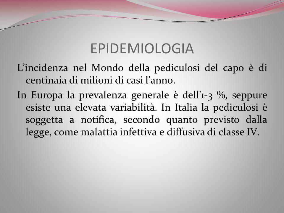 EPIDEMIOLOGIA Lincidenza nel Mondo della pediculosi del capo è di centinaia di milioni di casi lanno. In Europa la prevalenza generale è dell1-3 %, se