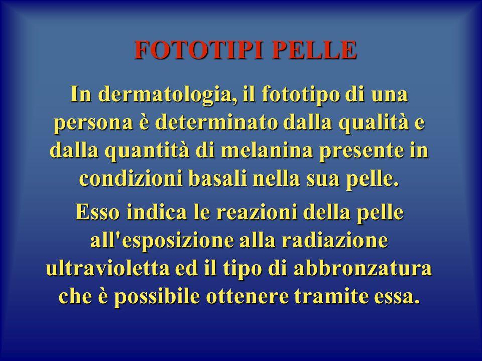 FOTOTIPI PELLE In dermatologia, il fototipo di una persona è determinato dalla qualità e dalla quantità di melanina presente in condizioni basali nella sua pelle.