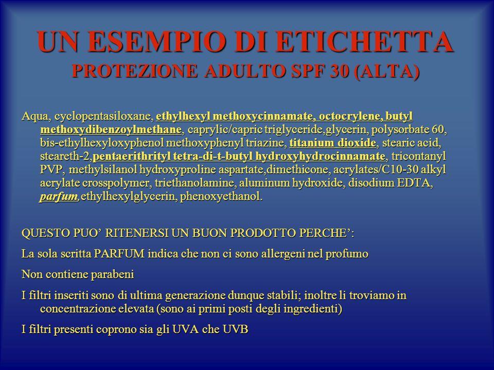 UN ESEMPIO DI ETICHETTA PROTEZIONE ADULTO SPF 30 (ALTA) Aqua, cyclopentasiloxane, ethylhexyl methoxycinnamate, octocrylene, butyl methoxydibenzoylmethane, caprylic/capric triglyceride,glycerin, polysorbate 60, bis-ethylhexyloxyphenol methoxyphenyl triazine, titanium dioxide, stearic acid, steareth-2,pentaerithrityl tetra-di-t-butyl hydroxyhydrocinnamate, tricontanyl PVP, methylsilanol hydroxyproline aspartate,dimethicone, acrylates/C10-30 alkyl acrylate crosspolymer, triethanolamine, aluminum hydroxide, disodium EDTA, parfum,ethylhexylglycerin, phenoxyethanol.