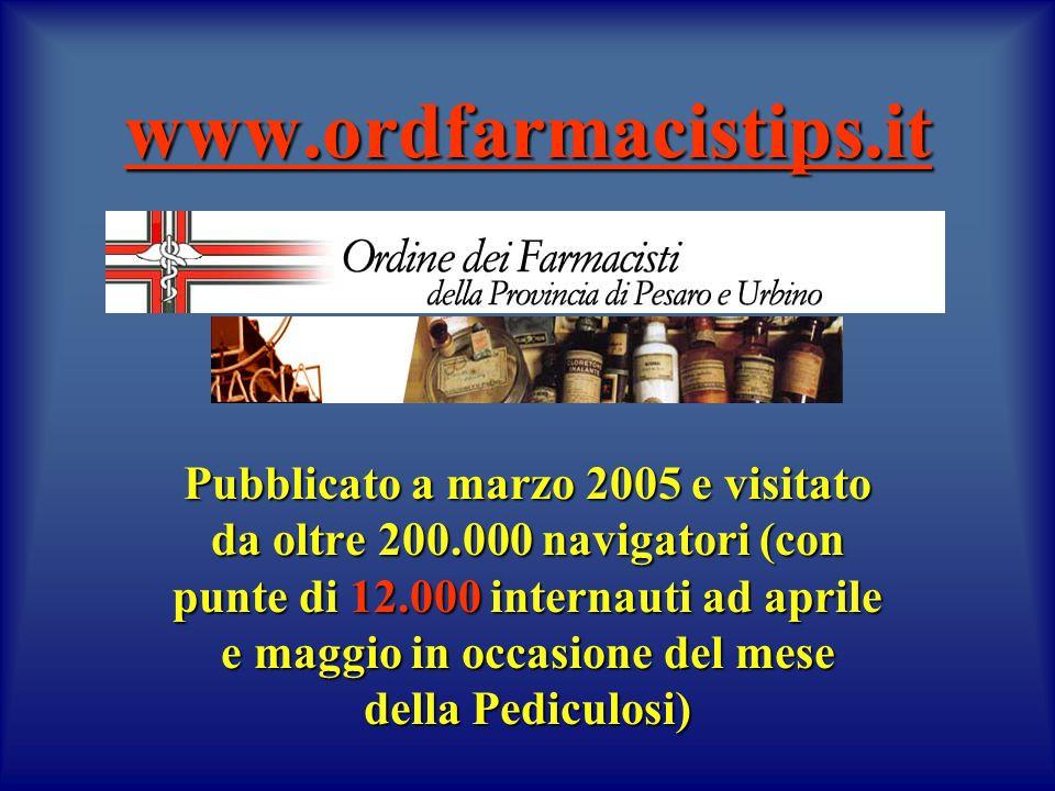 www.ordfarmacistips.it Pubblicato a marzo 2005 e visitato da oltre 200.000 navigatori (con punte di 12.000 internauti ad aprile e maggio in occasione del mese della Pediculosi)
