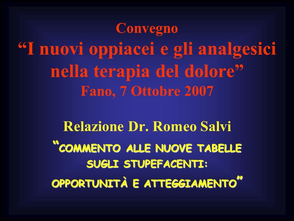 Convegno I nuovi oppiacei e gli analgesici nella terapia del dolore Fano, 7 Ottobre 2007 Relazione Dr. Romeo Salvi COMMENTO ALLE NUOVE TABELLE COMMENT