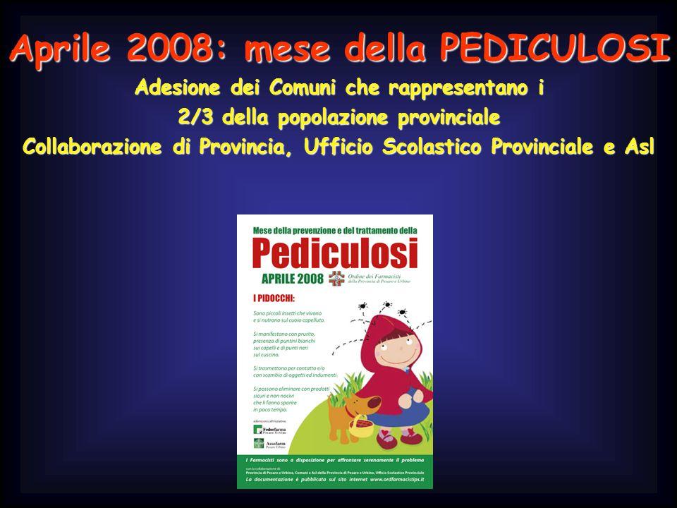 Aprile 2008: mese della PEDICULOSI Adesione dei Comuni che rappresentano i 2/3 della popolazione provinciale Collaborazione di Provincia, Ufficio Scol