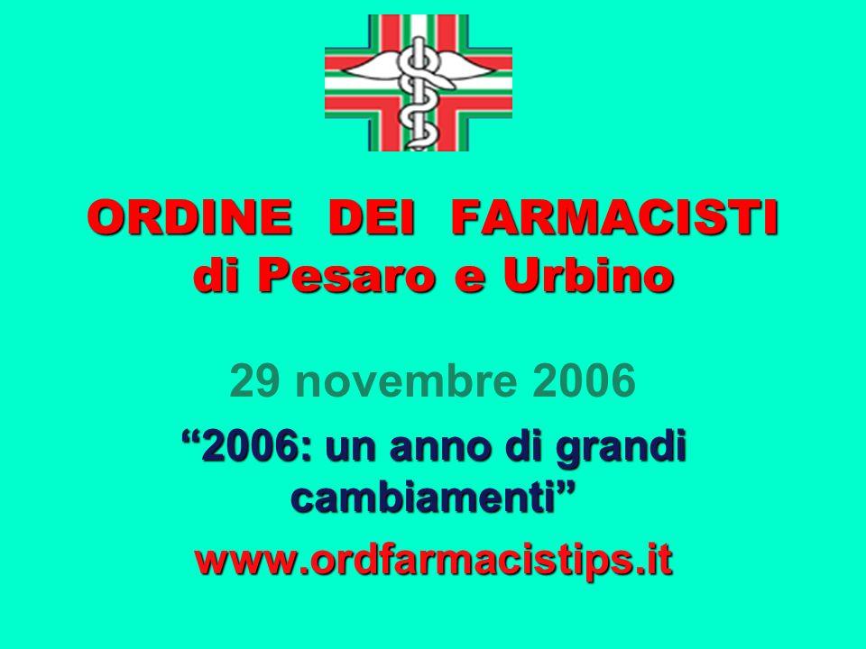 ORDINE DEI FARMACISTI di Pesaro e Urbino 29 novembre 2006 2006: un anno di grandi cambiamenti www.ordfarmacistips.it
