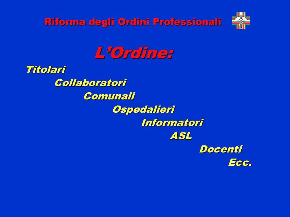 Riforma degli Ordini Professionali LOrdine: LOrdine:TitolariCollaboratoriComunaliOspedalieriInformatoriASLDocentiEcc.