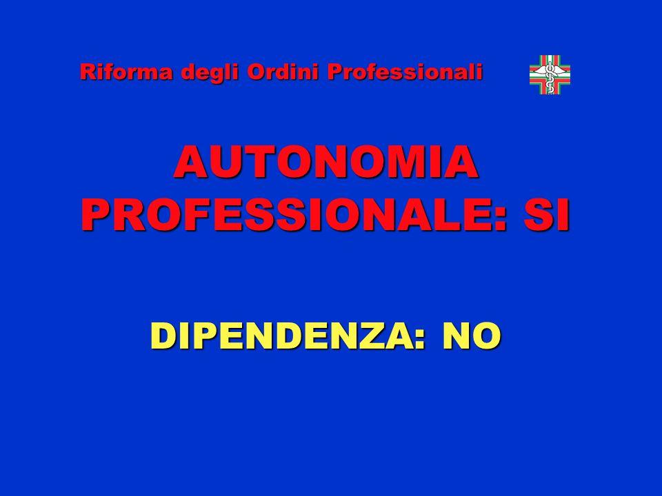 AUTONOMIA PROFESSIONALE: SI DIPENDENZA: NO Riforma degli Ordini Professionali