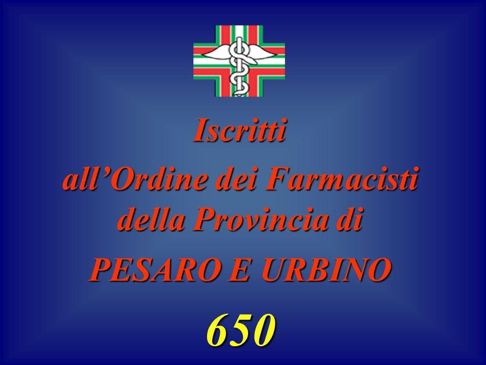 Iscritti allOrdine dei Farmacisti della Provincia di PESARO E URBINO 650