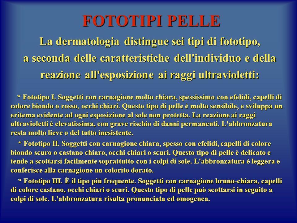 FOTOTIPI PELLE La dermatologia distingue sei tipi di fototipo, a seconda delle caratteristiche dell'individuo e della reazione all'esposizione ai ragg