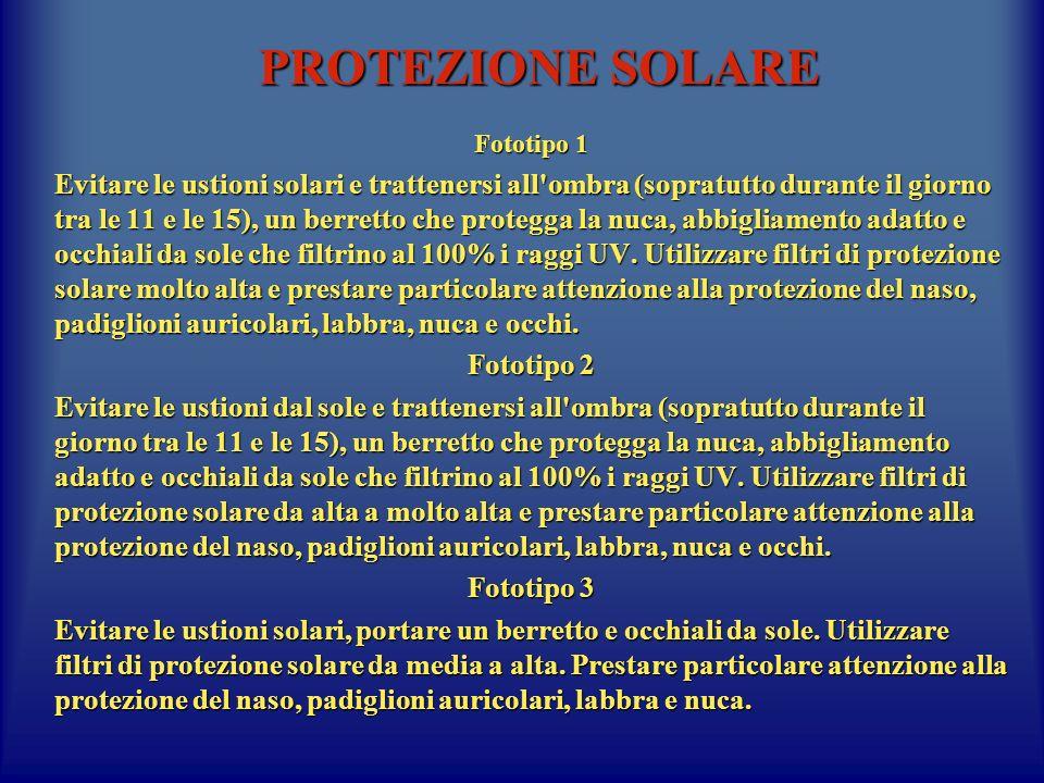 PROTEZIONE SOLARE Fototipo 1 Evitare le ustioni solari e trattenersi all'ombra (sopratutto durante il giorno tra le 11 e le 15), un berretto che prote