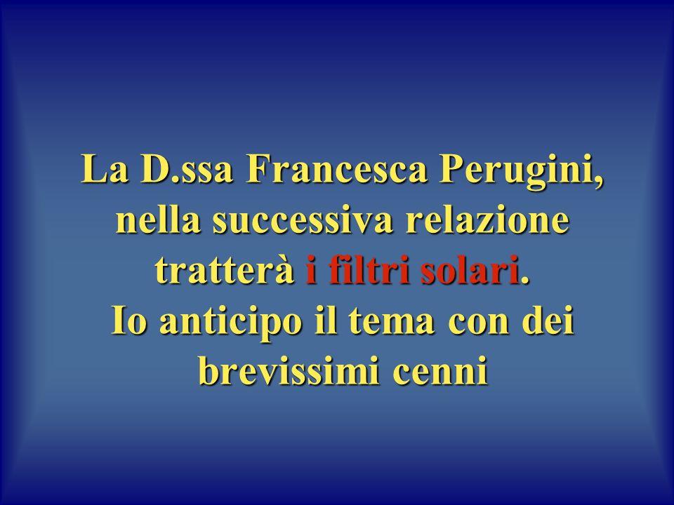 La D.ssa Francesca Perugini, nella successiva relazione tratterà i filtri solari. Io anticipo il tema con dei brevissimi cenni