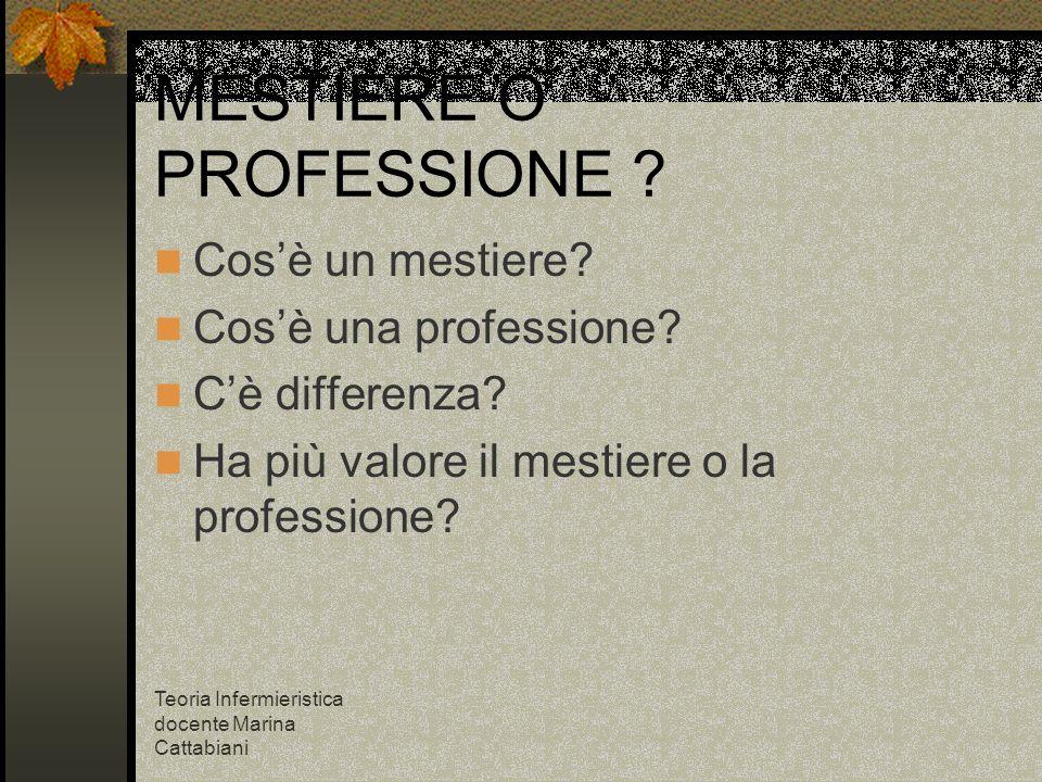 Teoria Infermieristica docente Marina Cattabiani MESTIERE O PROFESSIONE ? Cosè un mestiere? Cosè una professione? Cè differenza? Ha più valore il mest