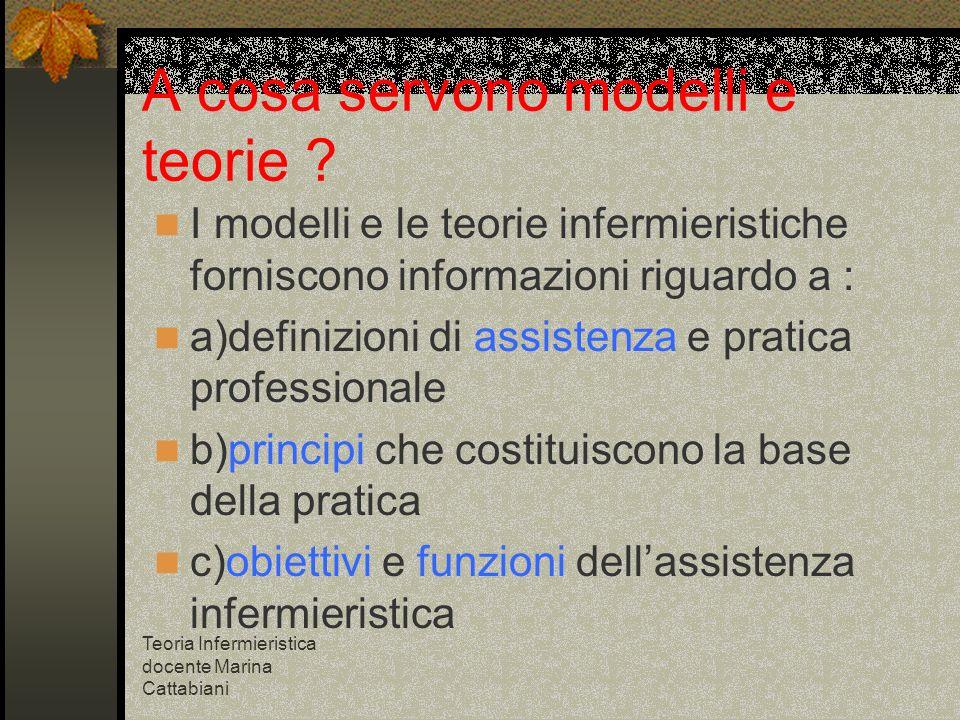 Teoria Infermieristica docente Marina Cattabiani A cosa servono modelli e teorie ? I modelli e le teorie infermieristiche forniscono informazioni rigu