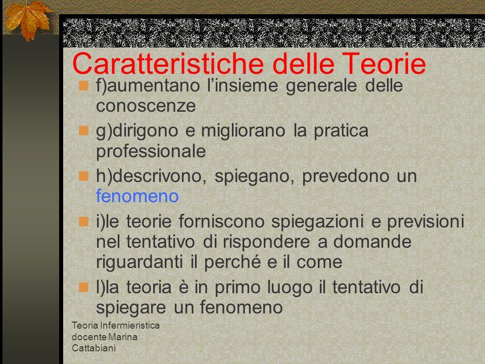 Teoria Infermieristica docente Marina Cattabiani Caratteristiche delle Teorie f)aumentano linsieme generale delle conoscenze g)dirigono e migliorano l