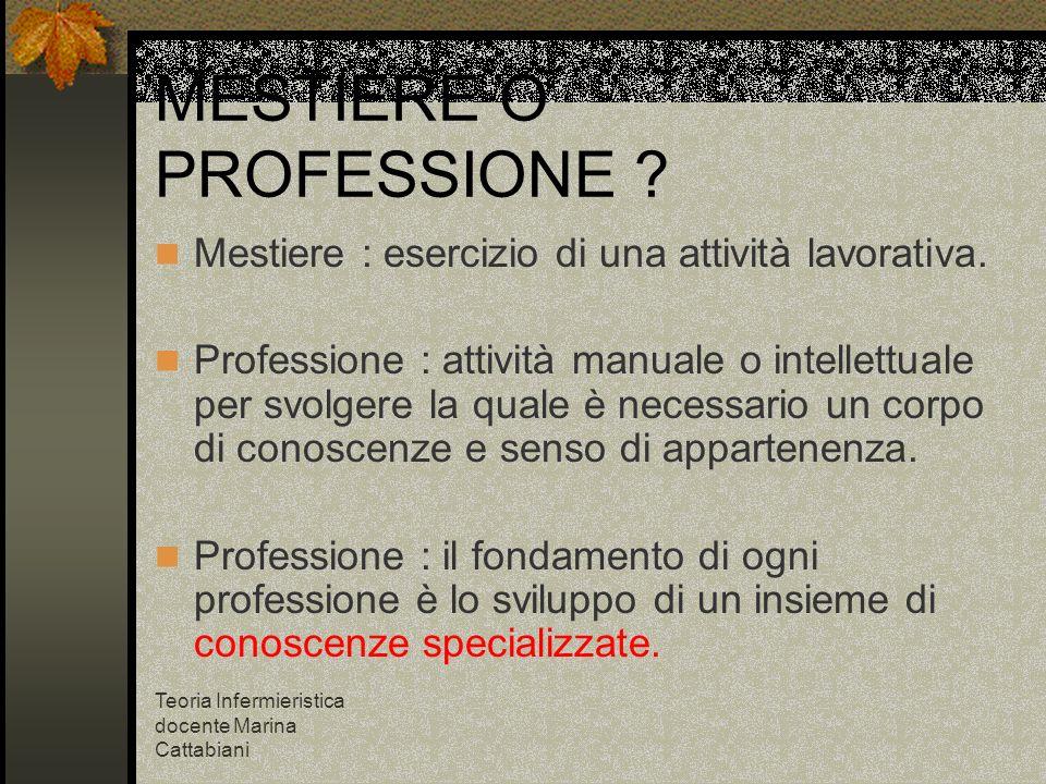 Teoria Infermieristica docente Marina Cattabiani MESTIERE O PROFESSIONE ? Mestiere : esercizio di una attività lavorativa. Professione : attività manu