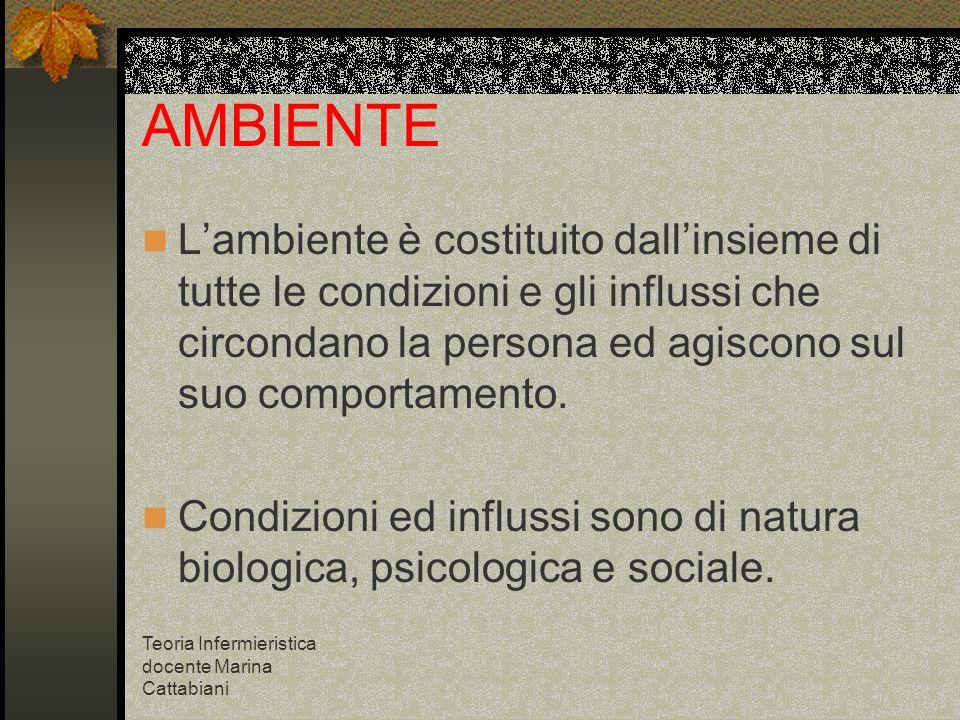 Teoria Infermieristica docente Marina Cattabiani AMBIENTE Lambiente è costituito dallinsieme di tutte le condizioni e gli influssi che circondano la p