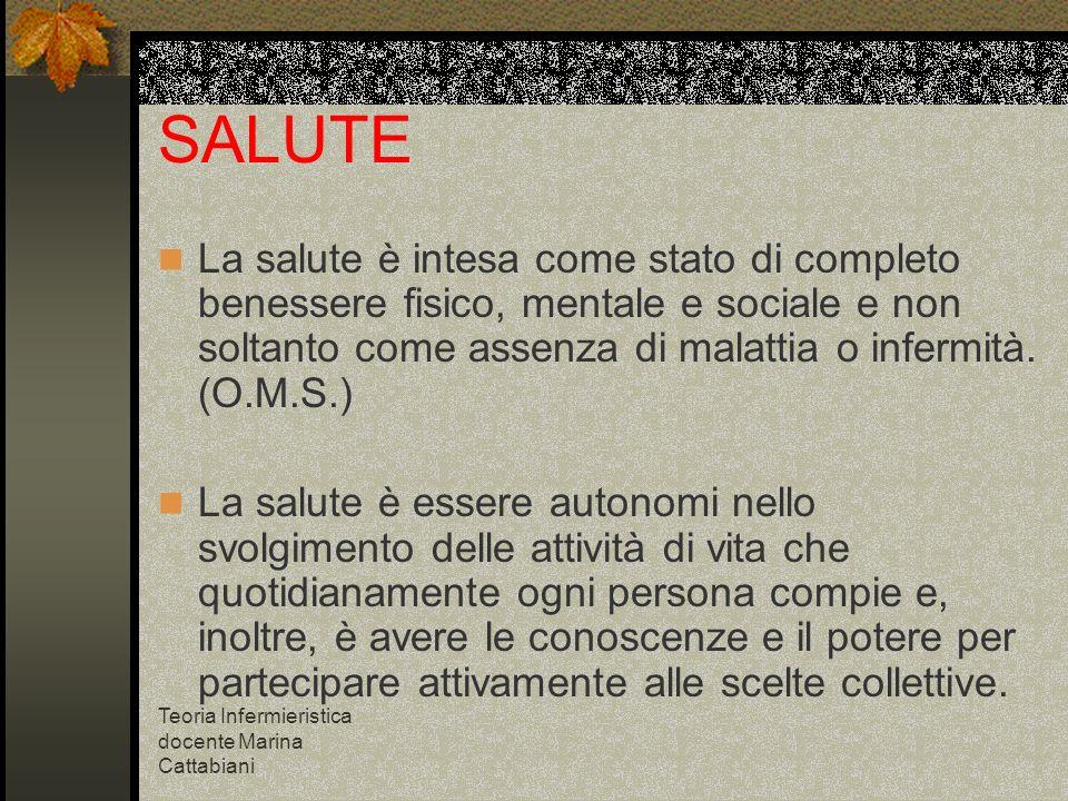 Teoria Infermieristica docente Marina Cattabiani SALUTE La salute è intesa come stato di completo benessere fisico, mentale e sociale e non soltanto c