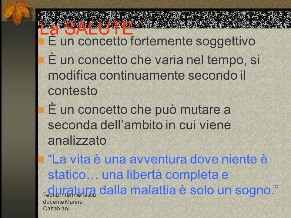 Teoria Infermieristica docente Marina Cattabiani La SALUTE È un concetto fortemente soggettivo È un concetto che varia nel tempo, si modifica continua