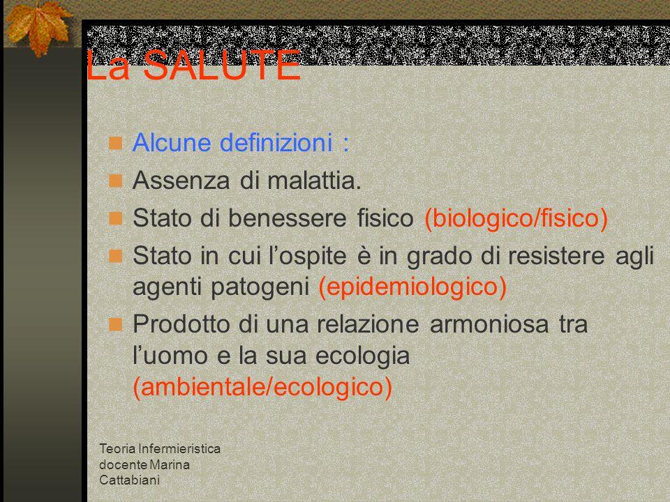 Teoria Infermieristica docente Marina Cattabiani La SALUTE Alcune definizioni : Assenza di malattia. Stato di benessere fisico (biologico/fisico) Stat