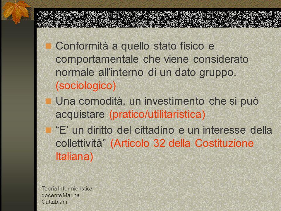 Teoria Infermieristica docente Marina Cattabiani Conformità a quello stato fisico e comportamentale che viene considerato normale allinterno di un dat