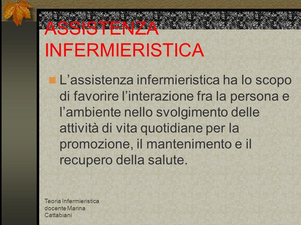 Teoria Infermieristica docente Marina Cattabiani ASSISTENZA INFERMIERISTICA Lassistenza infermieristica ha lo scopo di favorire linterazione fra la pe