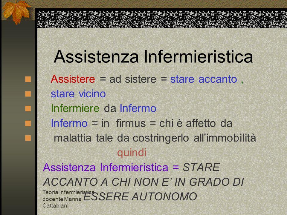 Teoria Infermieristica docente Marina Cattabiani Assistenza Infermieristica Assistere = ad sistere = stare accanto, stare vicino Infermiere da Infermo