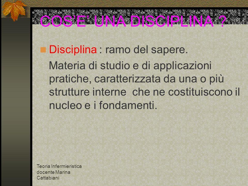 Teoria Infermieristica docente Marina Cattabiani COSE UNA DISCIPLINA ? Disciplina : ramo del sapere. Materia di studio e di applicazioni pratiche, car