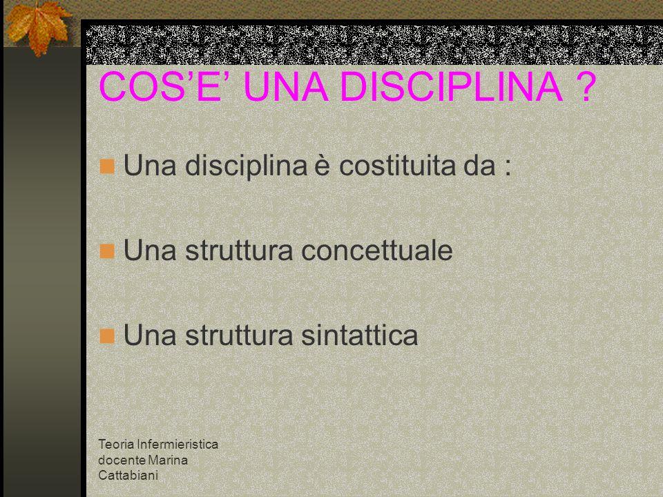 Teoria Infermieristica docente Marina Cattabiani COSE UNA DISCIPLINA ? Una disciplina è costituita da : Una struttura concettuale Una struttura sintat