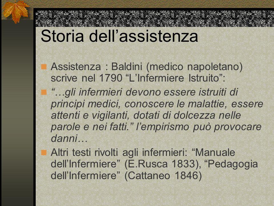 Storia dellassistenza Assistenza : Baldini (medico napoletano) scrive nel 1790 LInfermiere Istruito: …gli infermieri devono essere istruiti di princip