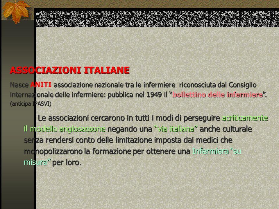 ASSOCIAZIONI ITALIANE Nasce associazione nazionale tra le infermiere riconosciuta dal Consiglio internazionale delle infermiere:pubblica nel 1949 il b
