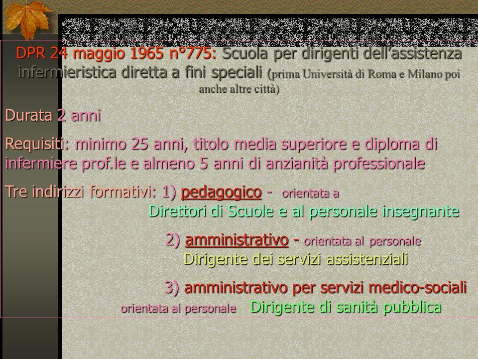 DPR 24 maggio 1965 n°775: Scuola per dirigenti dellassistenza infermieristica diretta a fini speciali ( prima Università di Roma e Milano poi anche al
