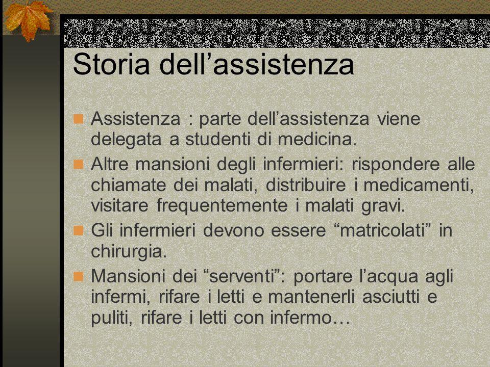 Storia dellassistenza Assistenza : parte dellassistenza viene delegata a studenti di medicina. Altre mansioni degli infermieri: rispondere alle chiama