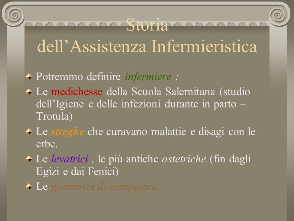 Storia dellAssistenza Infermieristica Potremmo definire infermiere : Le medichesse della Scuola Salernitana (studio dellIgiene e delle infezioni duran
