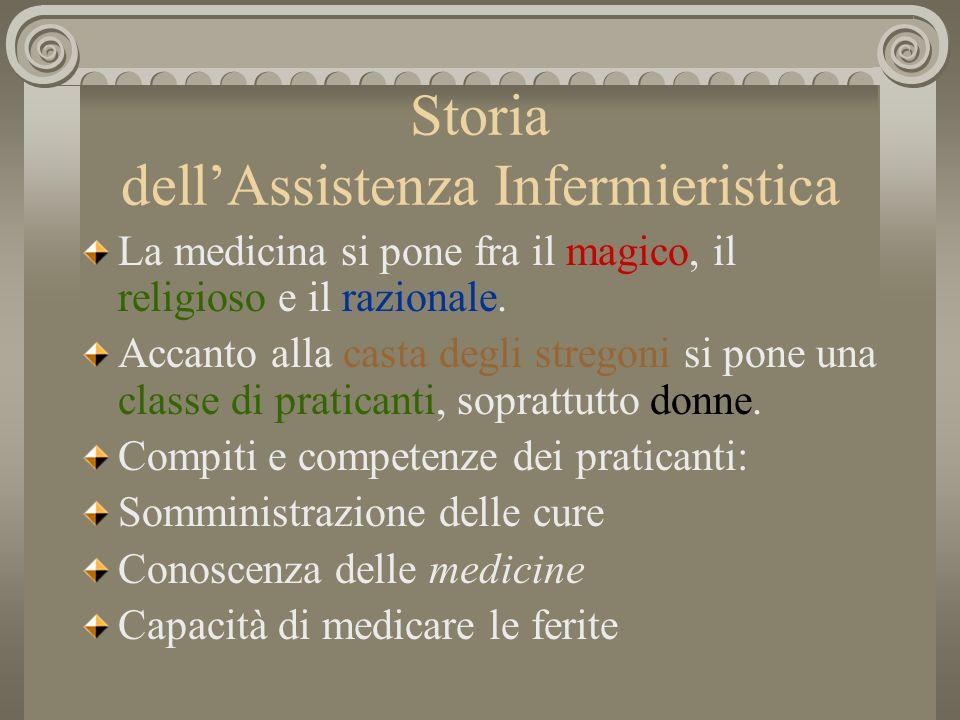 Storia dellAssistenza Infermieristica La medicina si pone fra il magico, il religioso e il razionale. Accanto alla casta degli stregoni si pone una cl